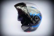 Шлем-трансформер JYX JK-105 черно-синий глянец