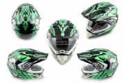 Шлем детский кроссовый HELMO CR-188 черно-зеленый