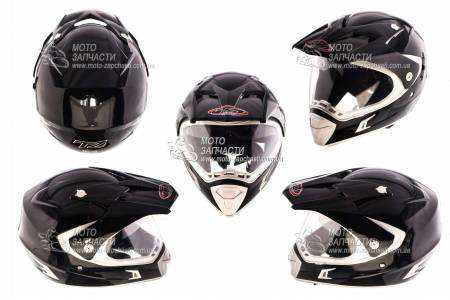 Шлем кроссовый HELMO CR-188 черный глянец