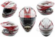 Шлем кроссовый GSB GS-14 + визор бело-красный