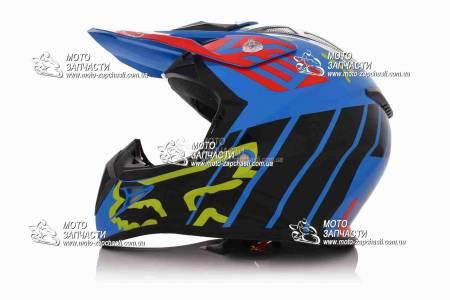 Шлем кроссовый FOX сине-черный