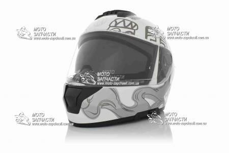 Шлем-интеграл VLAND M63+очки бело-серый