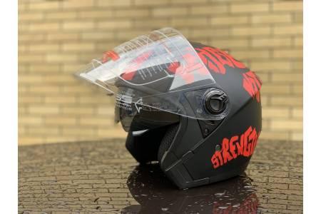 Шлем- полулицевой с очками F2 mod: 707 BLACK-RED