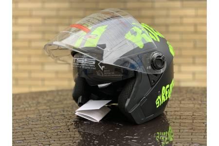 Шлем- полулицевой с очками F2 mod: 707 BLACK-GREEN