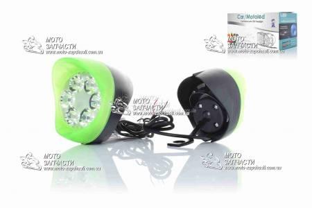 Ходовые огни LED под зеркала 6 диодов + габарит MOTOLED зеленые